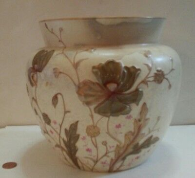Large Royal Devon Vase Cream Embossed Gold