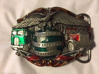 Vintage 1986 **I'm Proud To Be An American Trucker** Pewter/Enameled Belt Buckle