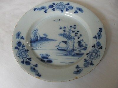 18th century hand painted blue and white English delft plate