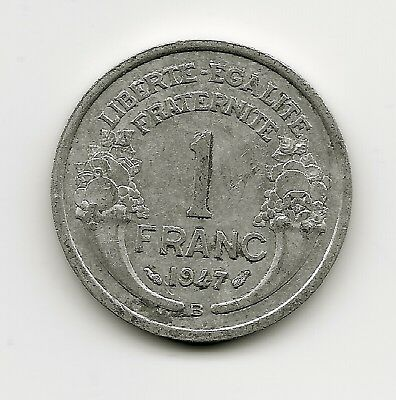 World Coins - France 1 Franc 1947 Coin KM # 885a ; Lot-F2