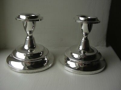Pair Vintage Ianthe Silver Plated Short Candle Sticks Original Boxes