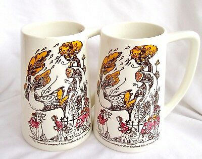 Vtg NEW ENGLAND LIFE INSURANCE Mugs 2 Large ROWLAND B. WILSON