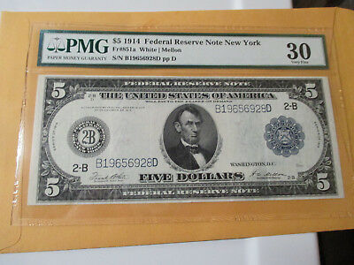 1914 $5 Federal Reserve Note Pmg Vf 30