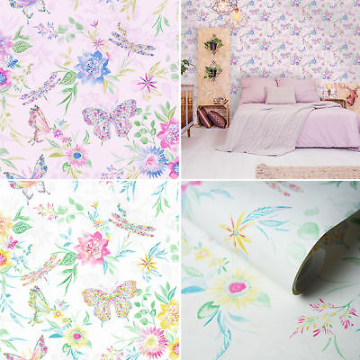 Holden Decor Glasshouse Watercolour Butterfly Multi Wallpaper 90101 Floral