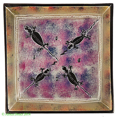 Stone Plate Kisii Lizards Square Kenya African 8 Inch SALE WAS $15.00