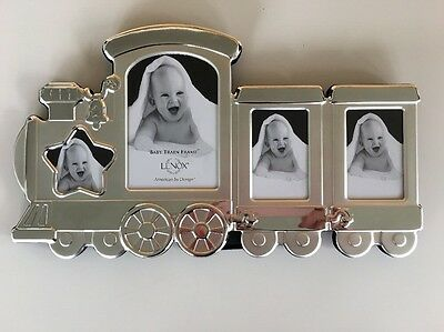 Lenox Baby's Train Silver Tone Multi Photo 4x6 2x3 Picture Frame New Baby Shower