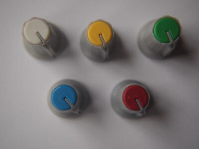 Coloured Plastic Pot Knobs for 6mm Potentiometer / Rotary Switch Various Colours