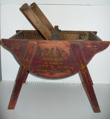 ANTIQUE 1800s MINIATURE WOOD ROCKER WASHING MACHINE TOY INDIANA STORE DISPLAY IN