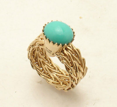 Size 8 Technibond Turquoise Gemstone Wheat Band Ring 14K Yellow Gold Clad Silver