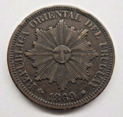1869 Uruguay 4 Centesimos.  See Details and Pictures.