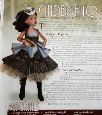 "Uncut Steampunk Cinderella Costume Pattern fits 17"" Ellowyne Wilde Doll & others"
