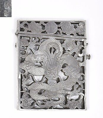 Early 20C Chinese Beijing Reticulated Pierce Silver Dragon Card Case Box Marked