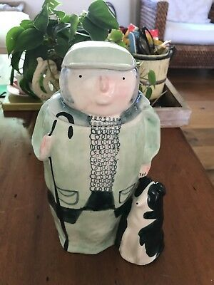 Used Anthropologie NORTHUMBRIA Cookie Jar MAN & DOG Alex Sickling Hand Painted