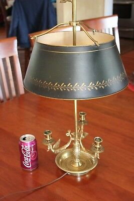 Vintage Chapman Brass Bouillotte Tole Shade Swans Candle Base Table Lamp