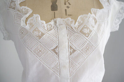 Antique hand made Edwardian corset cover/ camisole  - monogram R B