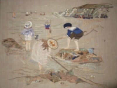 Vintage Hand Embroidered Linen Picture Edwardian Children By The Sea