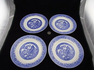 "4  Antique Royal Standard     Blue Willow  7 3/4"" Plates"