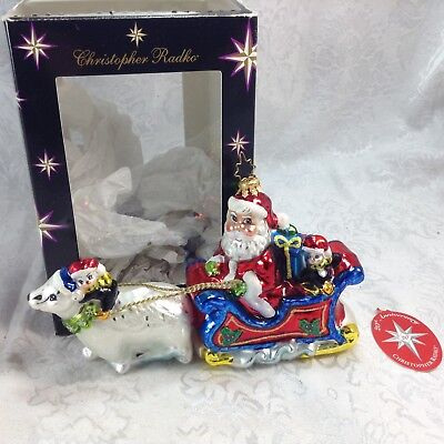 Christopher Radko Christmas Ornament Santa Polar Bear Run Sleigh