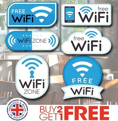 WIFI04 6x Free Wifi Zone Decals Stickers Labels, Cafe/ Office/Restaurant/ Signs