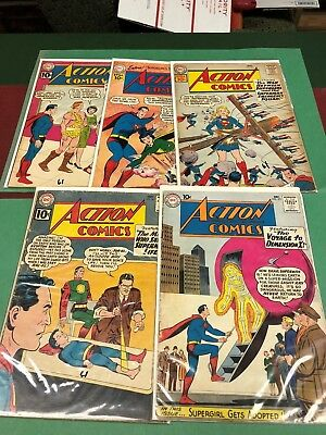 Four 1961 DC ACTION COMICS and one 1960 issue.