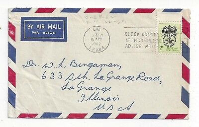 Papua New Guinea PNG 1962 Airmail Cover to US, 2s WHO Anti Malaria Solo