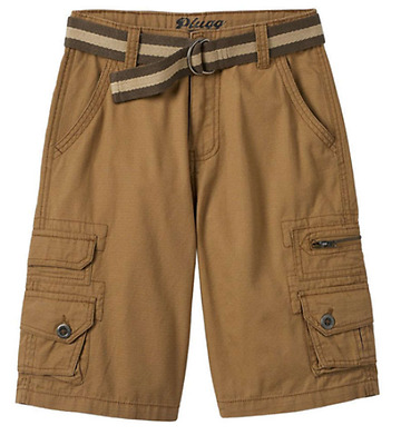 PLUGG Boys Trekker Micro-Rip Belted Cotton Cargo SHORTS 8-18 Black or Brown NWT