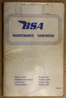 Bsa A65 A50 Maintenace Handbook 1968 Models 00-4153