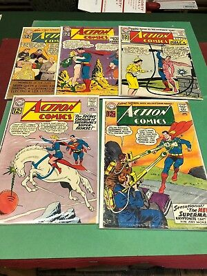 Five 1962 DC ACTION COMICS #286/ #289/ #290/ #291/ #293