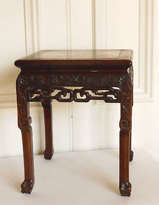 Chinese Hardwood Incense Table / Stool Marble Inset