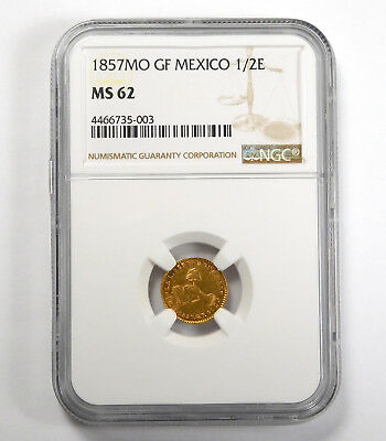 1857MO Mexico City 1/2 Escudo - NGC MS 62