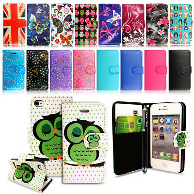 PU Leather Wallet Book Flip Card Holder Case Cover For iPhone 4 4G 4S