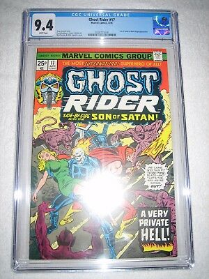 Ghost Rider # 17 Cgc 9.4 White - Son Of Satan And Karen Page Appearance! Shield!
