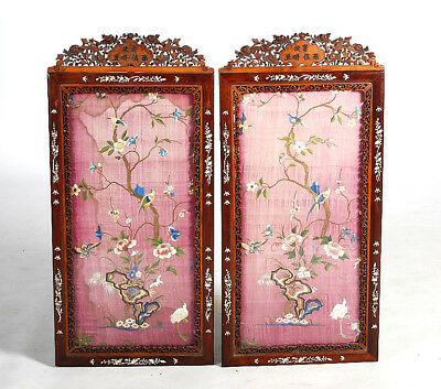Fabulous Rare Chinese Mother of Pearl Inlaid Hardwood Frames Silk Embroidery