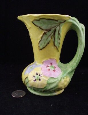 """James Kent 5"""" Yellow And Green Art Pottery Poppy Pitcher"""