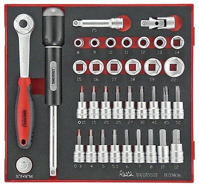 Teng Tools 36 Piece 3/8in Drive Socket and bit Set in a EVA Modular Tray TED3836