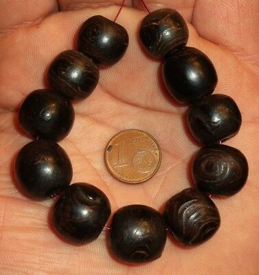 15mm Perle Corail Ancien Yémen Antique Yemeni Black Round Coral Bead Tesbih