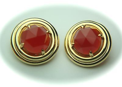 Vintage SF GUMPS 18k Solid Gold & Faceted Carnelian Earrings - 24mm