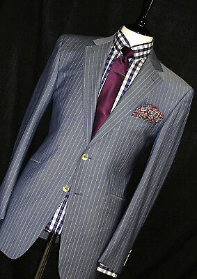 Brand  New Mens Alfred Dunhill Chalkstripe Navy Bespoke Suit 44R W38 X L32