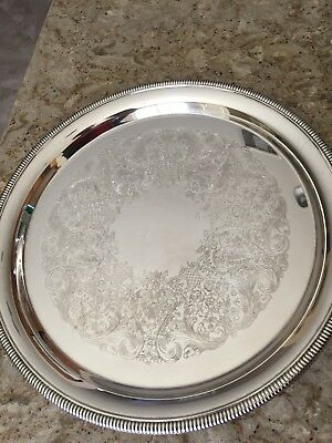 Vtg International Silver Co Silverplate Round Serving Tray
