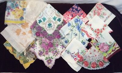Lot of 16 Vintage Colorful FLORAL Hankies-EXCELLENT! 2 NOS w Stickers