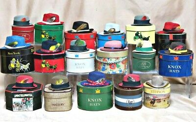 Vintage Collection 17 Mini Hats with Boxes Stetson, Dobbs, Knox Salesman Samples