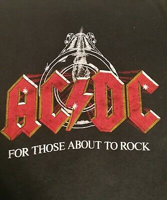 """Vintage AC/DC 1982 """"For Those About To Rock"""" Tour Shirt RARE"""