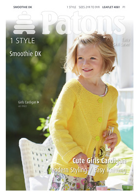 Patons Girls Cardigan Smoothie DK Knitting Pattern 4061 Ages 2 - 9yrs