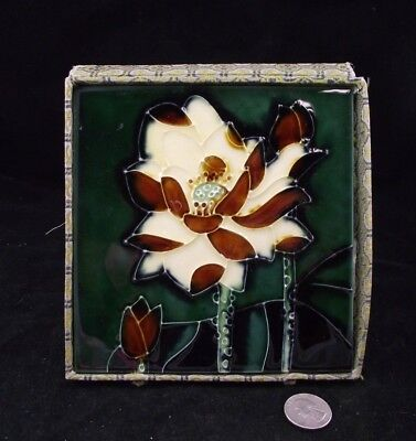 """Antique 6"""" Tile Green With Yellow Flower"""