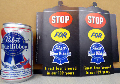 1953  ''Stop For'' PABST Blue Ribbon Beer Flange Cardboard Sign Milwaukee WI