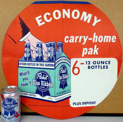 1950 What'll You Have? Pabst Blue Ribbon Beer 6 Pack Bottle Pole Topper Poster