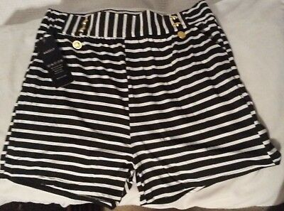 """ANSELF Large Black & White Shorts 3 Pockets Gold Buttons 15"""" Waist 3"""" Inseam New"""