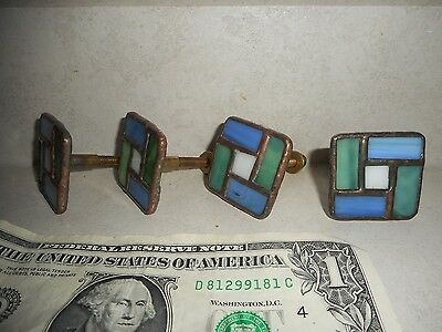 """Four (4) Leaded Stained Glass 1.5"""" X 1.5"""" X 1.75"""" Drawer/Cabinet Pulls Hardware"""