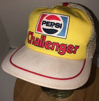 Vintage PEPSI CHALLENGER 80s USA Trucker Hat Cap Snapback Yellow Gold White Red