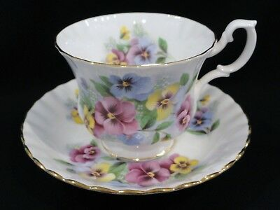 Royal Albert PANSY Pink Blue Yellow Floral Vintage Tea Cup and Saucer